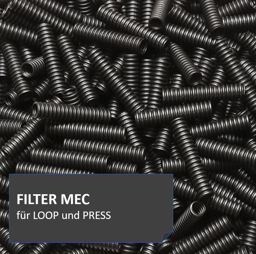 FILTERMEC entfernt mit seinen spiralförmigen Elementen zuverlässig kleine und mittlere Schmutzpartikel aus dem durchfließenden Wasser.