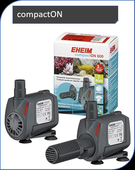 EHEIM compactON ist die kompakte und dennoch starke Aquarienpumpe. Sie ist in acht Größen erhältlich, für Durchflussmengen von 170 bis 12000 Litern pro Stunde.